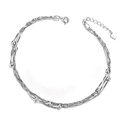cb10c31b68 Triple Layer Chain Anklets with Small Beads 925 Sterling Silver Fashion  Anklets for Woman: Amazon.co.uk: Jewellery