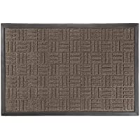 Lavish Home Door Mat Indoor/Outdoor Welcome Mat- Nonslip Rubber with Low Profile Modern Parquet Design for Patio, Garage, Front Entrance- 17.5 x 29 by