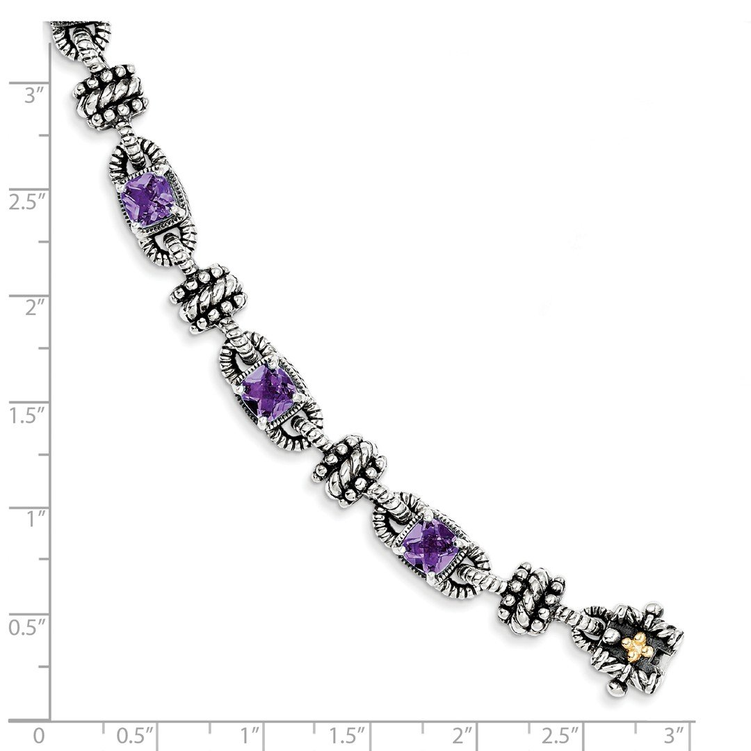ICE CARATS 925 Sterling Silver 14k Purple Amethyst Bracelet 7.50 Inch Gemstone Fine Jewelry Gift For Women Heart by ICE CARATS (Image #3)