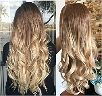 24 Inches Half Head Wig Long Ombre 3 4 Weave Brown Blonde No Front Parting Wavy Light Brown To Sandy Blonde