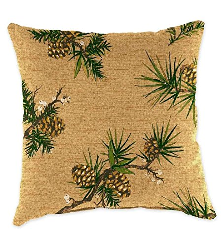 - YVSXO Tree Green Pine Cones lkwu1655 Decorative Cotton Blend Throw Pillow Cover Square Pillow Case Cushion Cover 18x18 Inch
