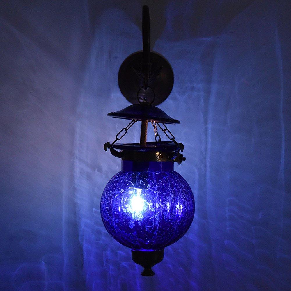 Handmade Vintage Melon Shaped Glass Cobalt Blue Wall Lighting Lamp Sconces Hanging Bronze Bracket