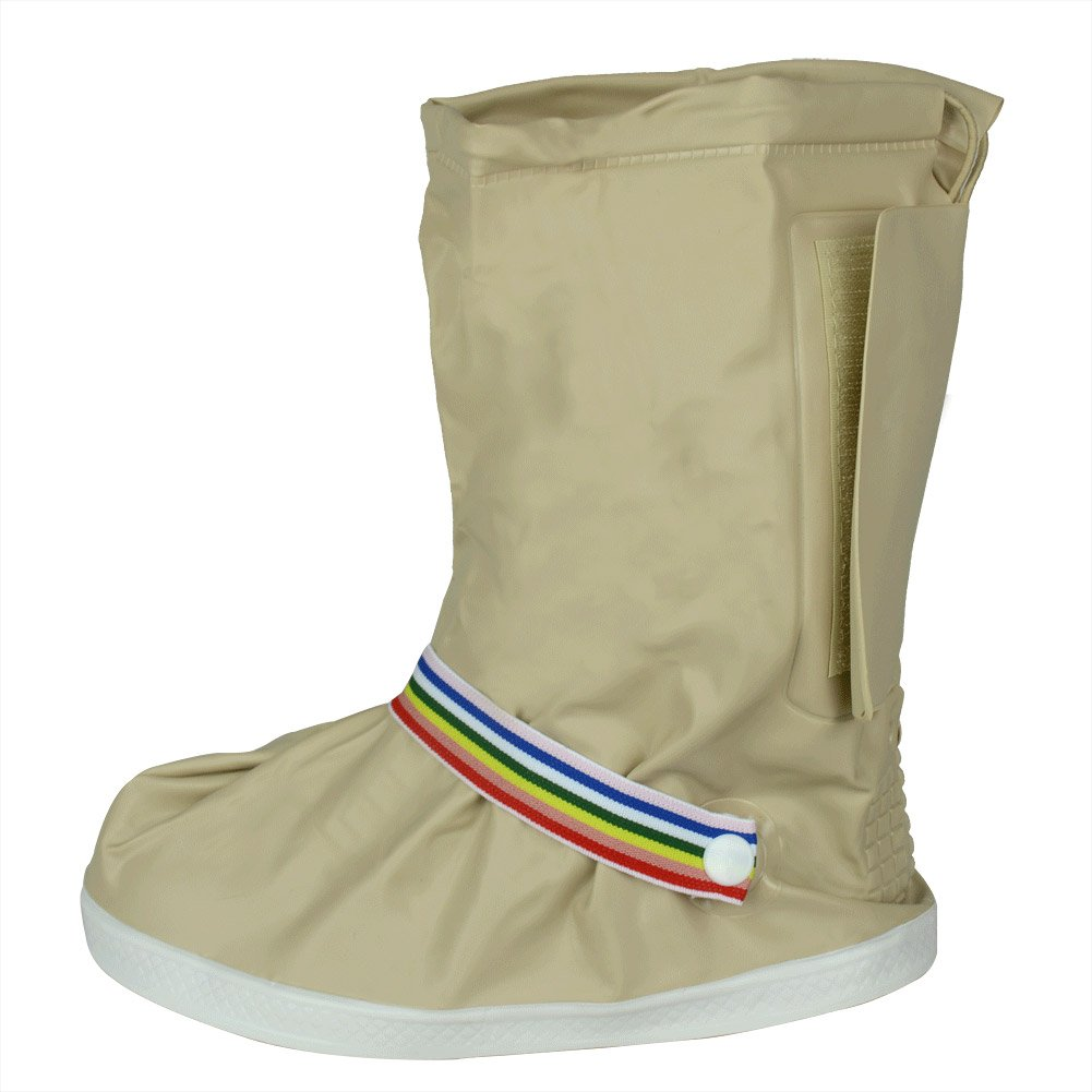 Thicken Sole Beige L Reusable Waterproof Women Girls Shoes Boots Cover