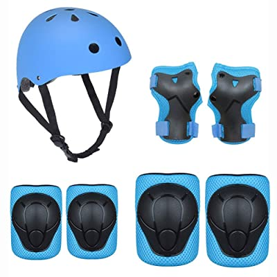 No-branded Protective Gear Sets Kids Protective Gear Set Boys Girls Cycling Adjustable Helmet Safety Pads Set Knee Elbow Pads for Kids ZRZZUS (Color : E Blue, Size : S): Home & Kitchen