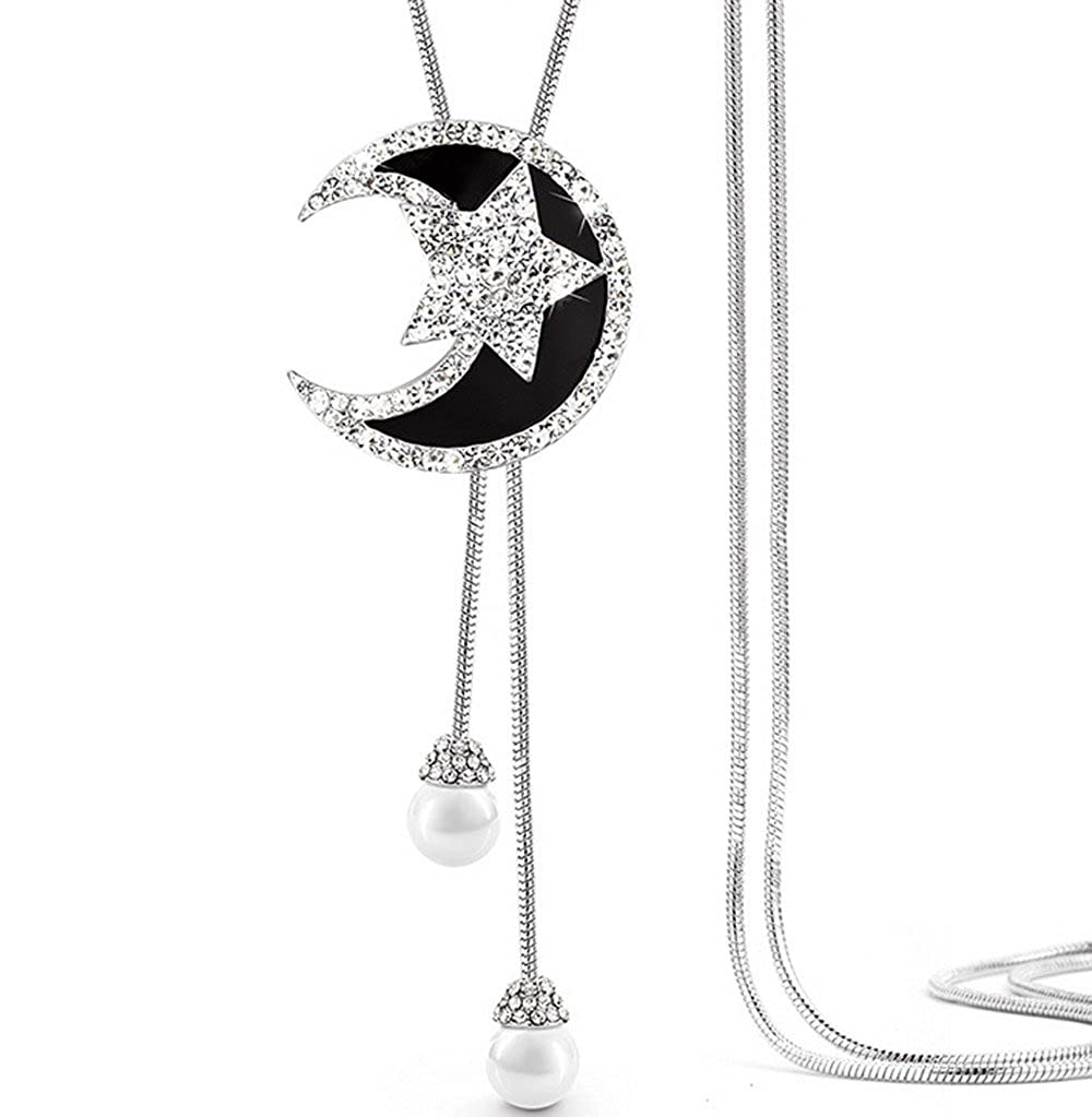 Fashion Greative Moon and Star Pendant Chain White Gold Plated Long Sweater Necklace Inlaid Rhinestone