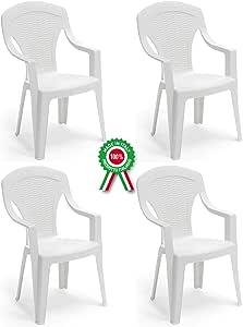 Savino Felipe SRL 4 Unidades Silla de Arona de Resina de plástico Blanca Apilable con Reposabrazos Respaldo Alto para Bar Camping Festival de Restaurante, jardín: Amazon.es: Jardín