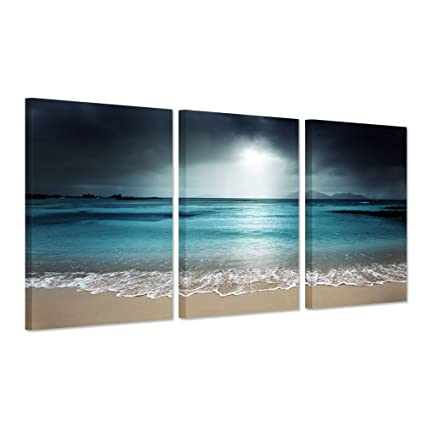Free Shipping Mediterranean Beach Chairs Oil Painting Canvas Prints Seascape Oil Painting On Canvas Decoration Picture Crazy Price Home Decor Painting & Calligraphy