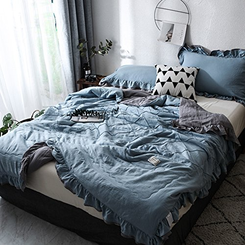 Vesna Lotus Ruffles Summer Quilt Full Size Soft Polyester Bedspread Blue 1 Quilt 1 Pillowsham Girls Kids Bed Coverlet 4 Colors to Choose