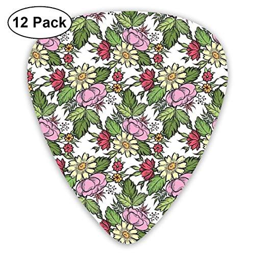 - Guitar Picks 12-Pack,Pastel Toned Lily Dahlia Frangipani Bouquet Essence Of Nature Pattern