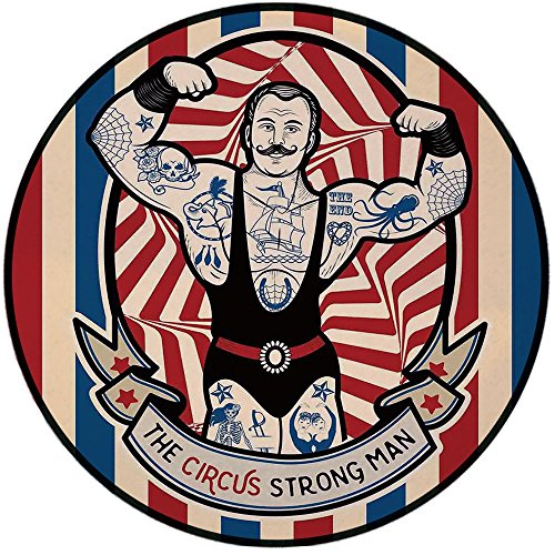 Printing Round Rug,Circus Decor,Nostalgic Icon the Strong Man with Tattoos and Muscles Circus Star Fun Art Print Mat Non-Slip Soft Entrance Mat Door Floor Rug Area Rug For Chair Living - Power Tattoo Supply Icon