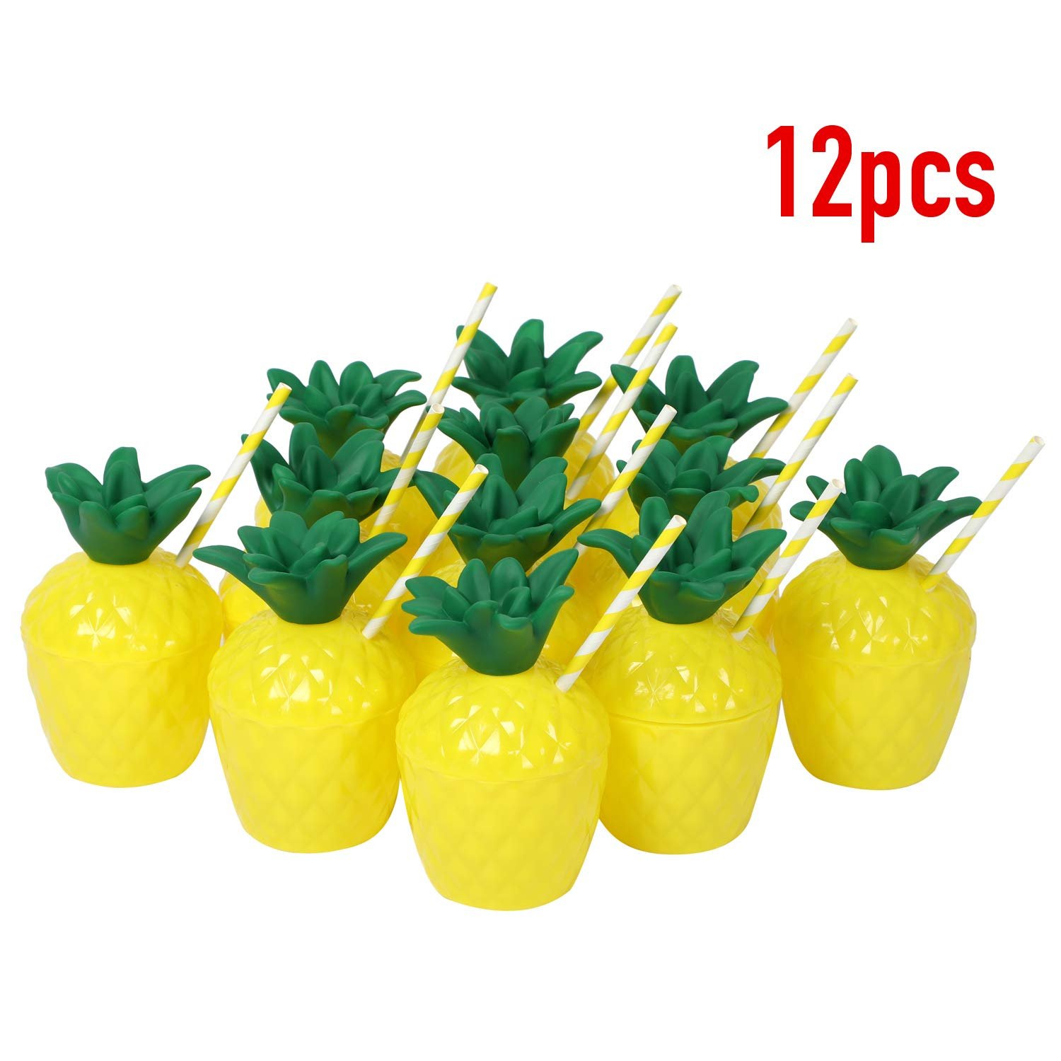 Fuyage 12pcs*10oz Novelty Plastic Pineapple Cups with Paperstraws for Hawaiian Luau Party Kids Beach Party by Fuyage