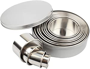 Donut Cutter,Mousse Circle,Round Cookie Biscuit Cutter Set with Metal Case, 12Pcs Food-Grade 304 Stainless Steel Circle Pastry Donut Doughnut Cutter Circular Cookie Cutters Baking Metal Ring Molds