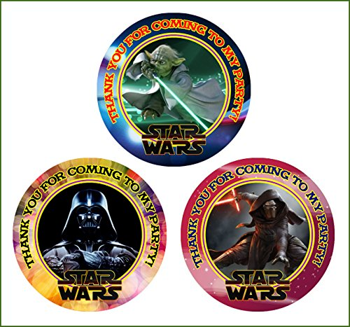 Crafting Mania LLC. 12 Star Wars Birthday Party Favor Stickers (Bags Not Included) -