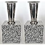 花立【お墓用】高級白みかげ石 ステンレス花筒付(固定済み) 2個(1対)セット M01