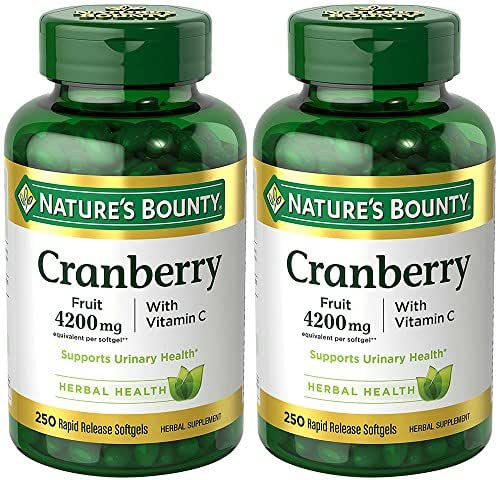 Cranberry with Vitamin C 4200 mg, 250 Softgels (2 Bottles)