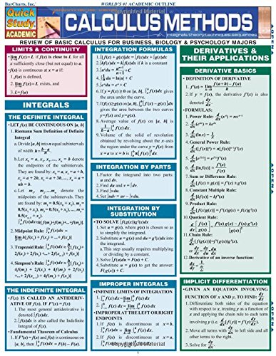 Calculus Methods (Quickstudy Reference Guides - Academic)