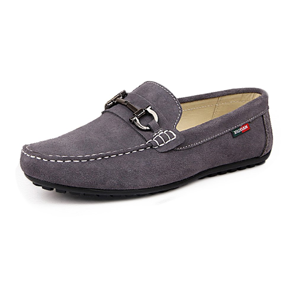 Easy Go Shopping Lederschuhe Herren Driving Loafers Slip on Penny Boot Mokassins Weiche Gummisohle mit Metall Dekor Grau