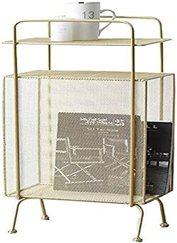 Best living room table: NJYT Side Table Magazine Rack Wrought Iron Living Room Creative End Table Floor Simple Storage Shelf Bedroom Beside Table Color : Gold
