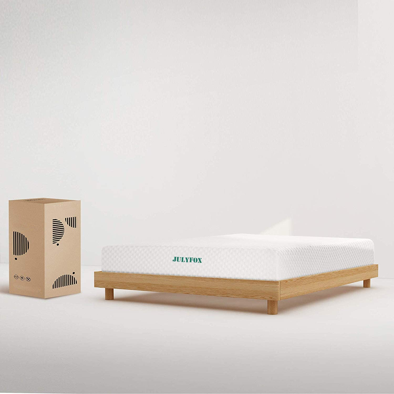 Harper Bright Designs Wood Platform Bed, 80.3 L X 42.5 W X 29.5 H, Oak
