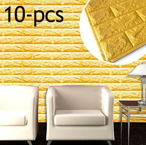 3D Brick Wall Stickers, PE Foam Self-adhesive Wallpaper Removable and Waterproof Art Wall Tiles for Bedroom Living Room Background TV Decor,10-pcs (23'' x 23'', yellow)