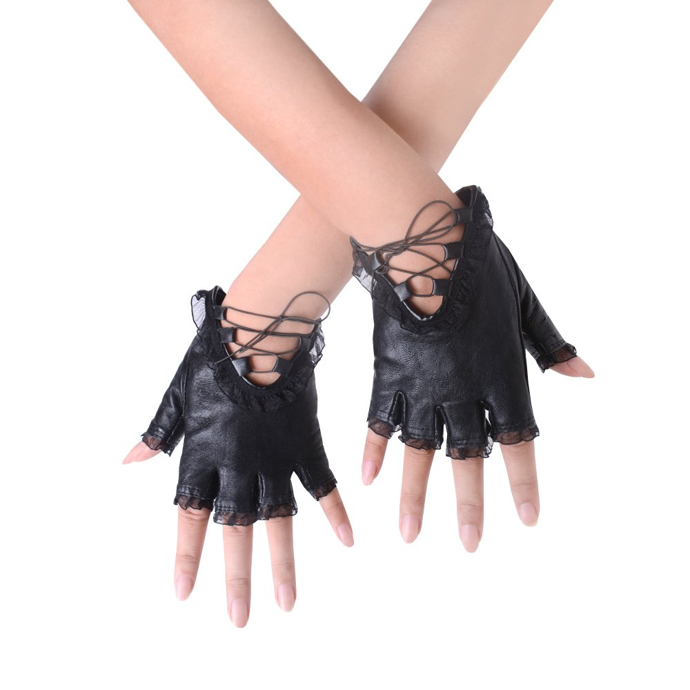 JISEN Gothic Punk Women PU Leather Lace Trim Straps Fingerless Gloves Black