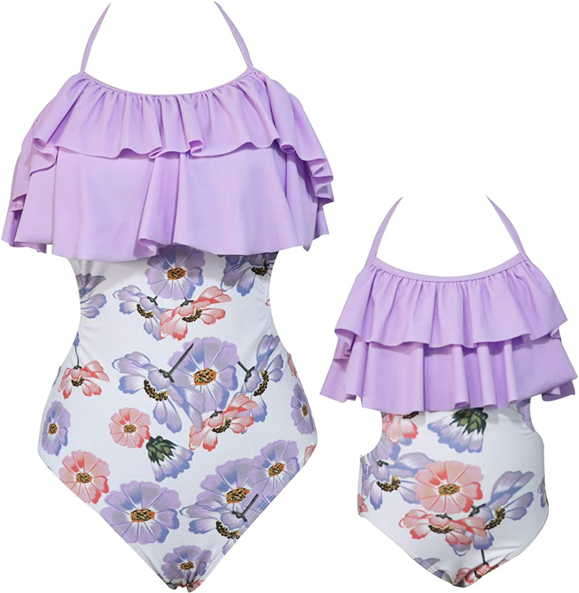 KABETY Mother Daughter One Piece Swimsuits Family Mommy Girls Matching Swimwear