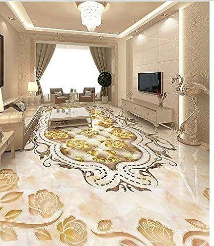 LWCX Marbled Mosaic Tiled Floors Custom Photo Self-Adhesive 3D Floor