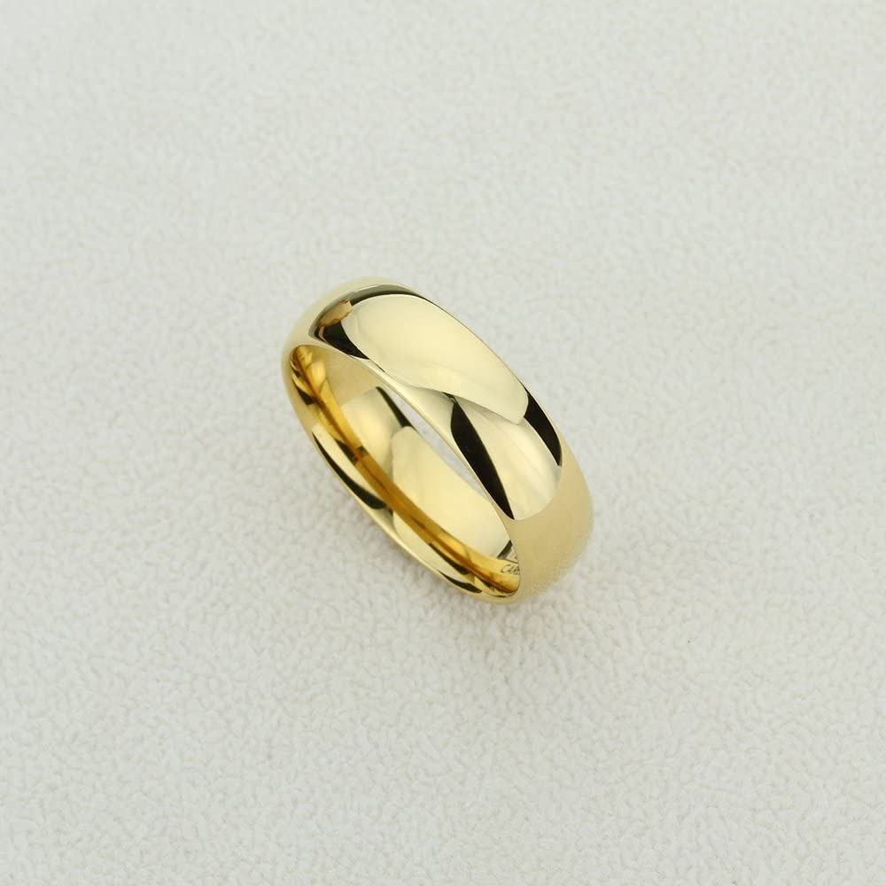 5 to 15 Double Accent 7MM Comfort Fit Tungsten Carbide Wedding Band High Polished Domed Gold Tone Tungsten Ring