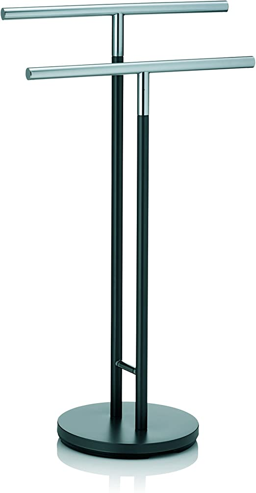 Kela Towel Holder Sinerio Collection 36.4 Tall with 2 Bars 2.3 Long Metal Chrome