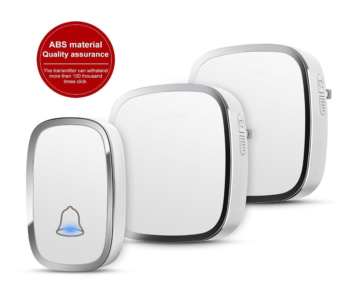 Wireless Doorbell, Waterproof Chime Kit Operating at 1000ft with 1 Push Button Transmitter(Battery included)and 2 plug-in Receivers,36 Chimes,4 Level Volume LED Indicator - white
