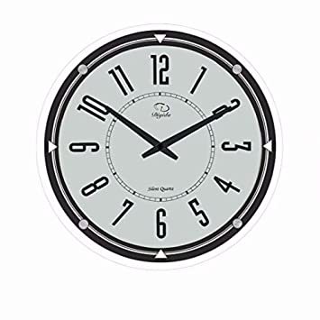 SMC de 14 pulgadas moderno sin marcar Silent Quartz analógico digital, ultra fino reloj de pared de cristal redondo: Amazon.es: Hogar