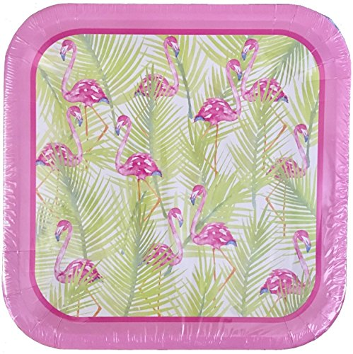 Party! Set of 14 Square 9 in Paper Plates ~ Pink Flamingo