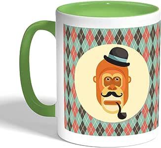 كوب سيراميك للقهوة بتصميم رسوم كرتونية - قرد ، لون اخضر