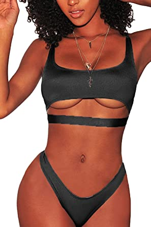 19eef9410982 Amazon.com: LEISUP Womens Cutout Crop Top High Cut Cheeky Two Piece  Brazilian Bikini Swimsuit: Clothing