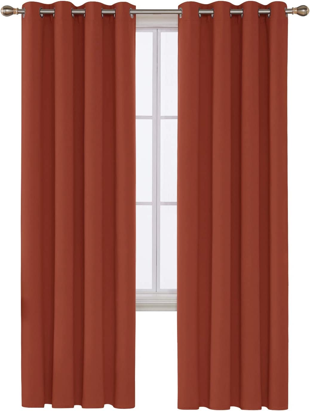 Deconovo Thermal Insulated Blackout Curtain Home Decor Orange Red, 52x95 Inch