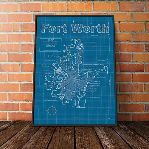 Fort Worth, Texas Map - Blueprint Style