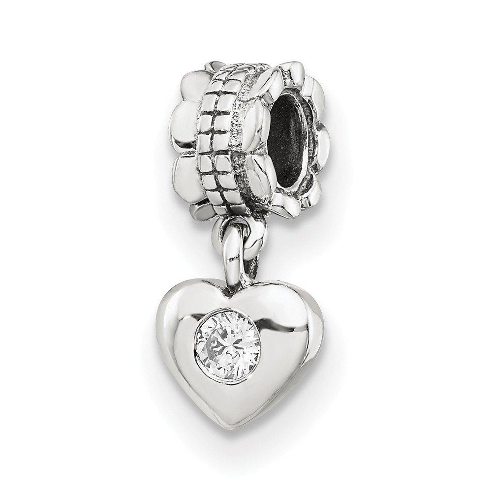 Jewel Tie 925 Sterling Silver Reflections CZ Cubic Zirconia Heart Dangle Bead 5.5mm x 20.9mm