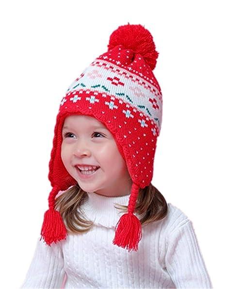3c2cec4ba49 Stillshine Bonnet Cache Oreille Chapeau Hiver Oreille Protection Garçon  Fille Bébé Tricoté en Coton Capuchon Bonnet