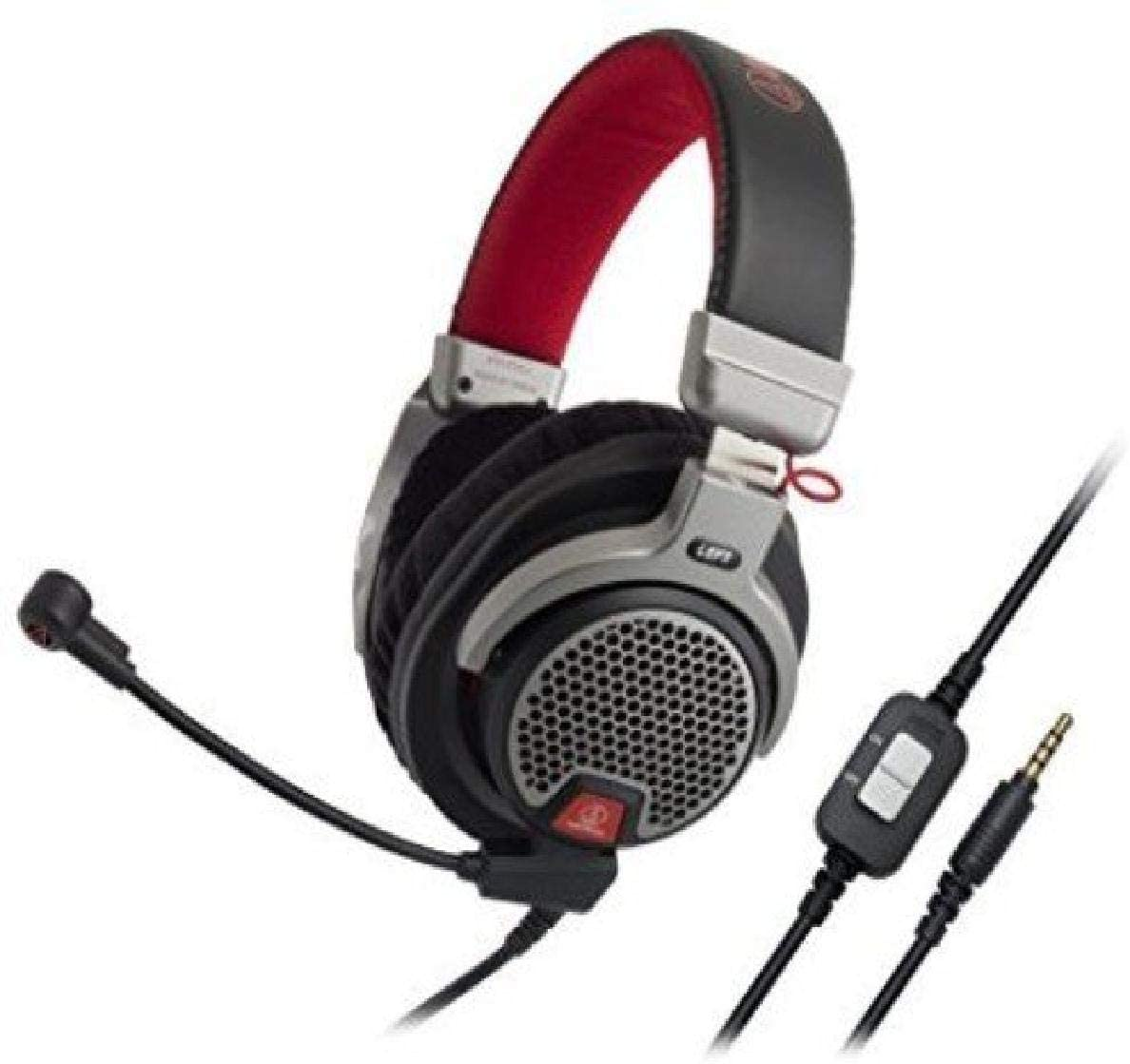Audio Technica ATHPDG1 Open-Air Premium Gaming Headset, Red/Gray/Black