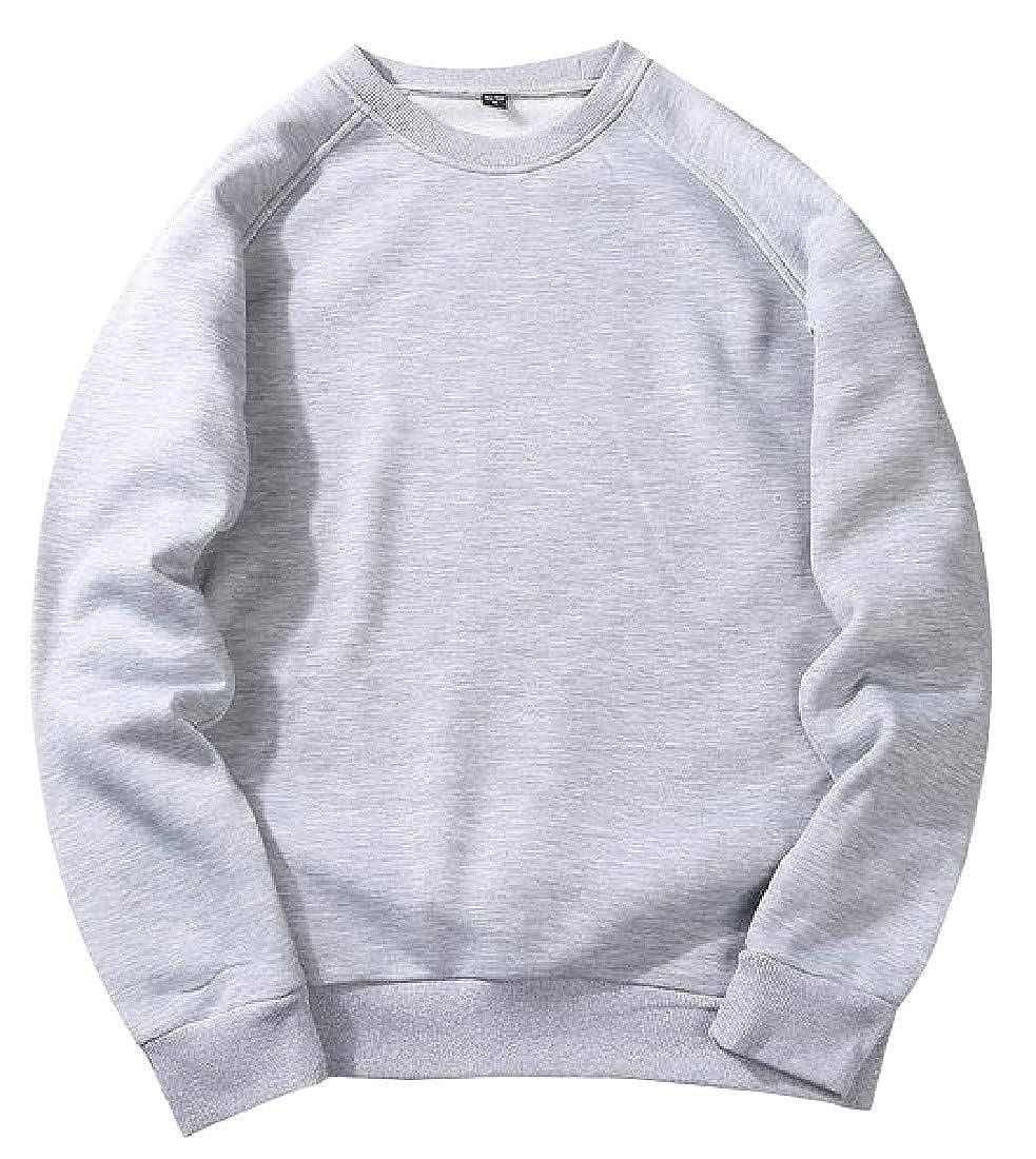 Hajotrawa Mens Active Flannel Crewneck Raglan Sleeve T-Shirts Pullover Sweatshirts