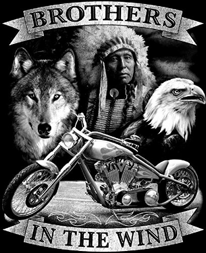 [Brothers In The Wind Indian Wolf Eagle Tee Shirt Size Xl Adult Tjb16 Tshirt New] (Indian Wolf Headdress Costume)