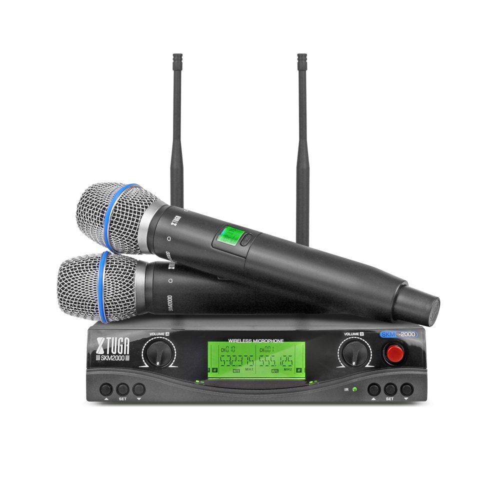 Xtuga SKM2000 Dual Channel UHF Wireless Microphone System with Selectable Frequencies Prevent Interference, Use for Family Party, Church, Small Karaoke Night (Range:180-250Ft) Made in China