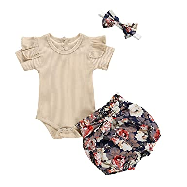 UK Summer Infant Baby Kids Girl Flower Strap Tops Bowknot Shorts Holiday Outfit