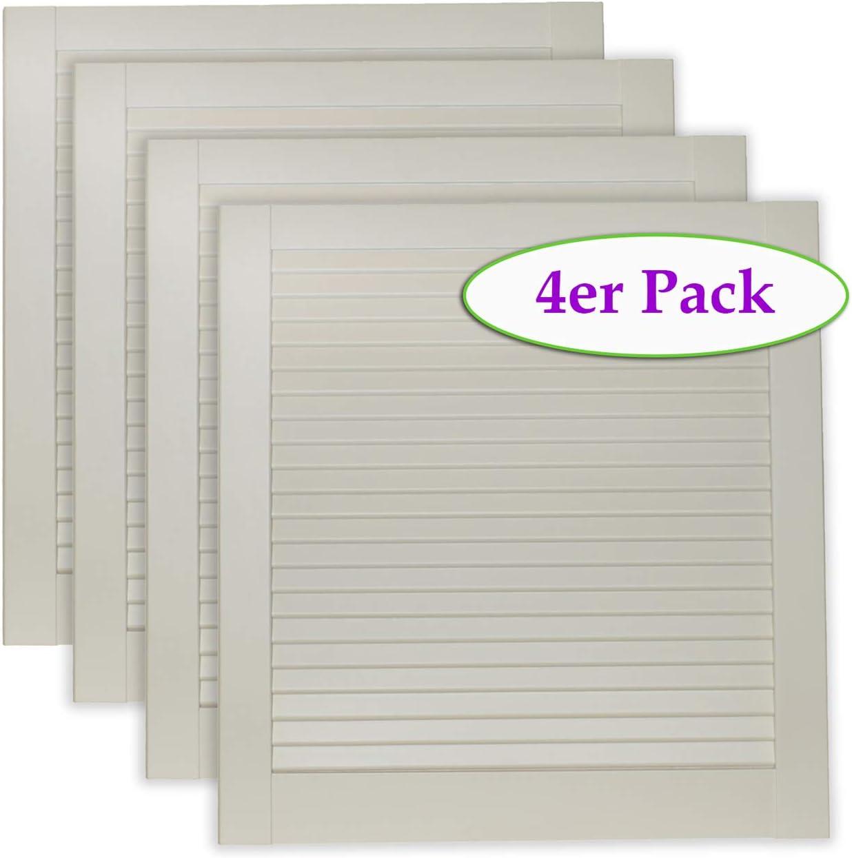 M/öbel 2-er Pack//Zwei St/ück Lamellent/üren wei/ß seidenmatt mit geschlossenen Lamellen Kiefernholz 462 x 494 x 21 mm f/ür Regale Schr/änke EINBAUFERTIG grundiert /& lackiert