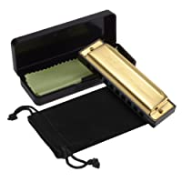 HusDow Blues Harmonica, 10 Hole Harmonicas Key of C for Beginners with Protective Bag and Cleaning Cloth (Golden)
