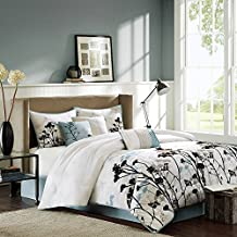 7 Piece Long Stalk Flowers Themed Comforter Set Queen Size, Botanical Garden Blossoms Black Floral Leaves Branches Printed, Tropical Dragonfly Orchid Stem Designed Bedding, Blue, White, Grey