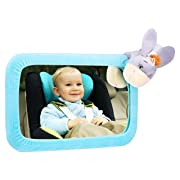 Baby Car Mirror, Crystal Clear View Wide Convex Mirror, 360 Degree Wide Angle Rotatable and Adjustable Back Seat, Baby Safety Mirror with Easy Installation - with Blue Donkey Cover