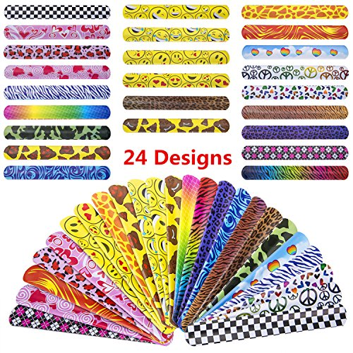 JOSENI 72 PCs Slap Bracelets Toys Party Favors Pack (24 Designs) with Colorful Hearts Emoji Peace Animal Prints-Birthday School Classroom Prize For Kids Boys Girls ()