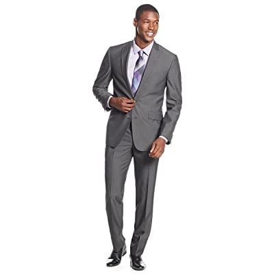 .Kenneth Cole Reaction Men's Pinstripe Slim-Fit Suit, Charcoal (Size 36S) at Men's Clothing store