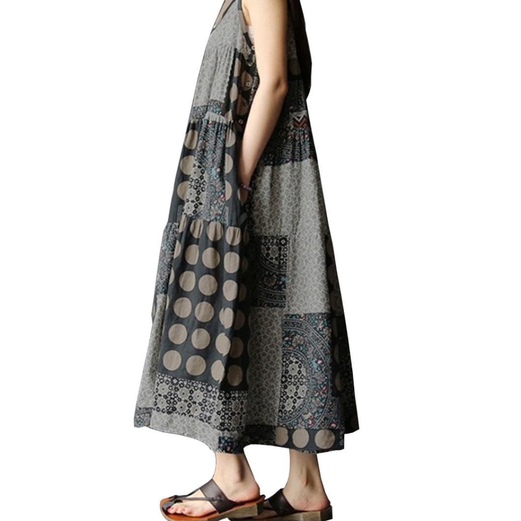 Sunward Women's Linen Loose Summer Casual Large Size Long Dress Cotton Clothing (Gray, 3XL)